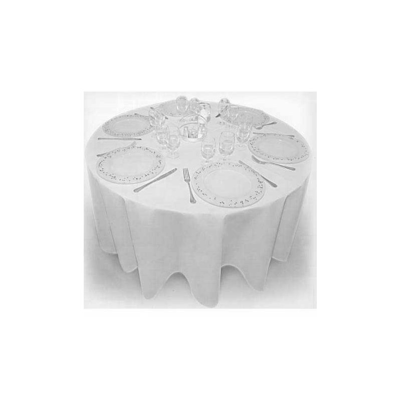 nappe ronde blanche non tiss 240cm loc 39 assiette. Black Bedroom Furniture Sets. Home Design Ideas